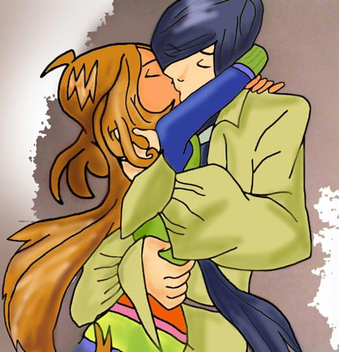 Поцелуй двух влюбленных.