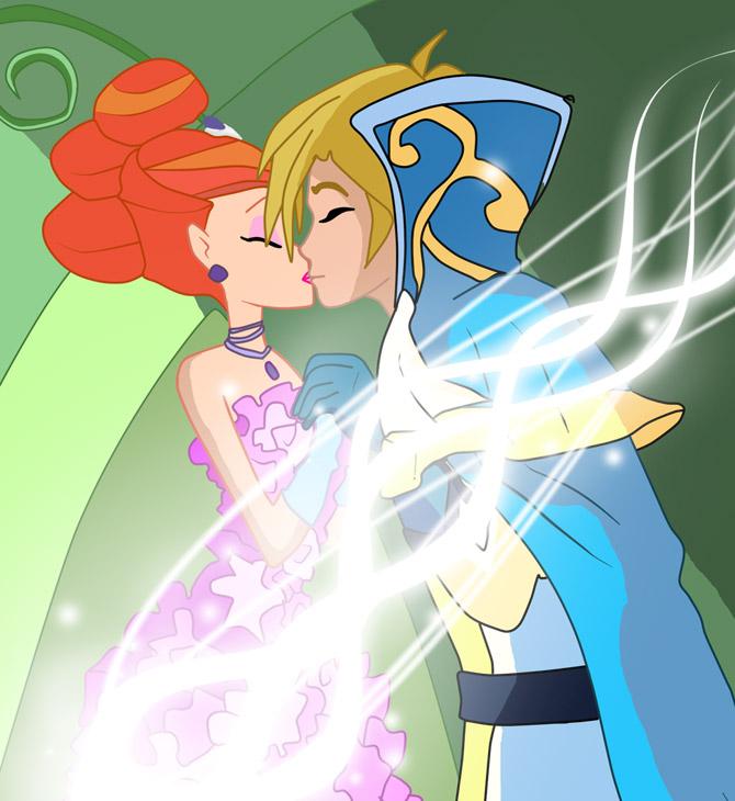 Блум и Скай целуются.