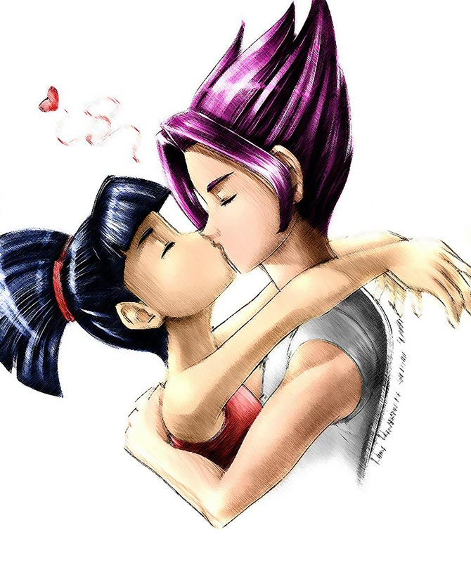 Ривен и Муза целуются.