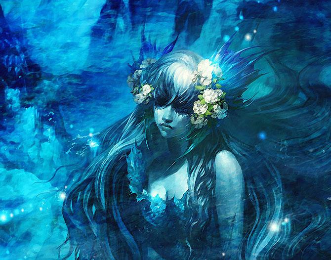 Загадочная девушка синего цвета.