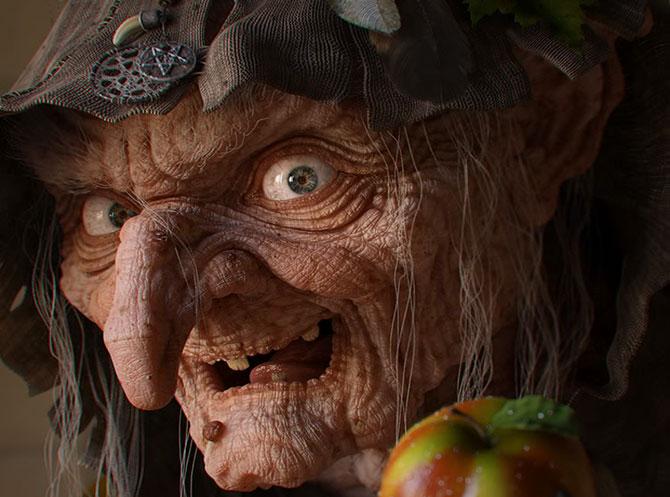 Страшная ведьма улыбается и предлагает яблоко.