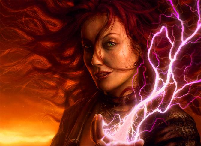 Волшебницы использует силу молнии.